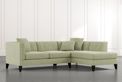Avery II Green 2 Piece Sectional with Right Arm Facing Armless .