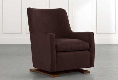 Bailey Brown Angled Track Arm Swivel Glider | Living Spac
