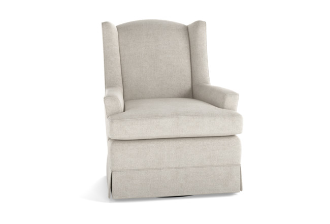 Bailey Linen Flare Arm Wing Skirted Swivel Glider | Living Spac