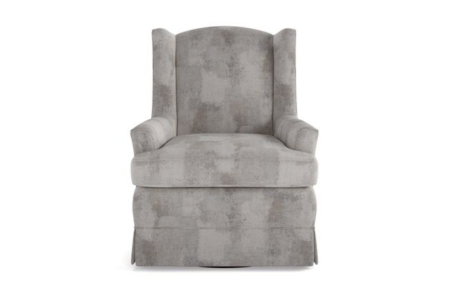 Bailey Linen Flare Arm Wing Skirted Swivel Glider - Natural - $595 .