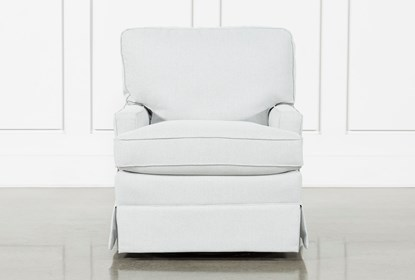 Bailey Mist Track Arm Skirted Swivel Glider | Living Spac