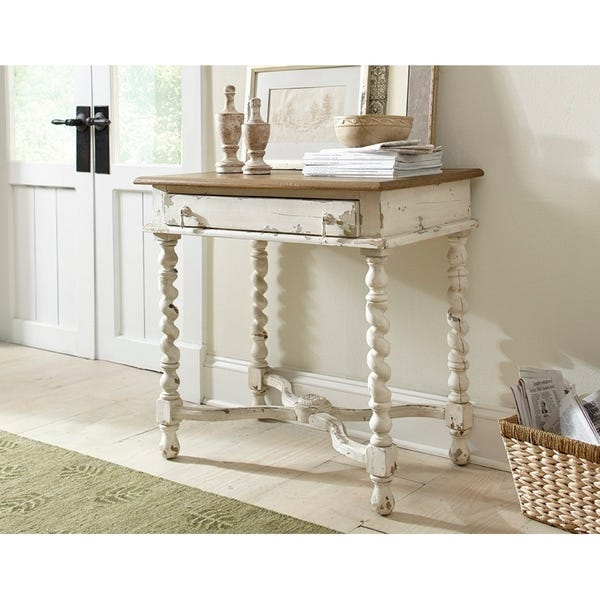 Shop Terrence Wood Side Table with Barley Twist Legs - Overstock .
