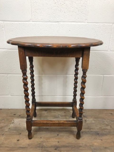 Antique Oak Barley Twist Side Table - M-594b / LA193206 .