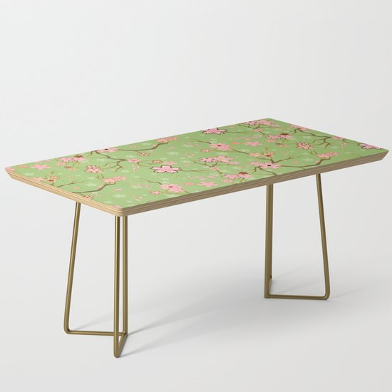 Green and Pink Sakura Batik Coffee Table by bloomejasmine | Societ