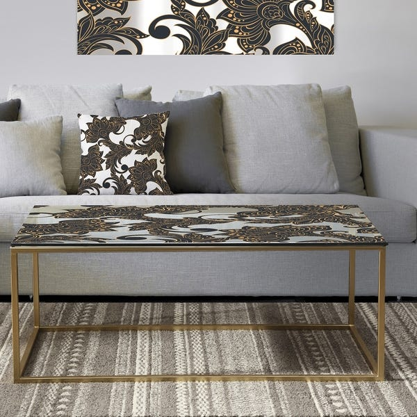 Shop Designart 'Retro Indian Floral Batik I' Metal Glam Coffee .
