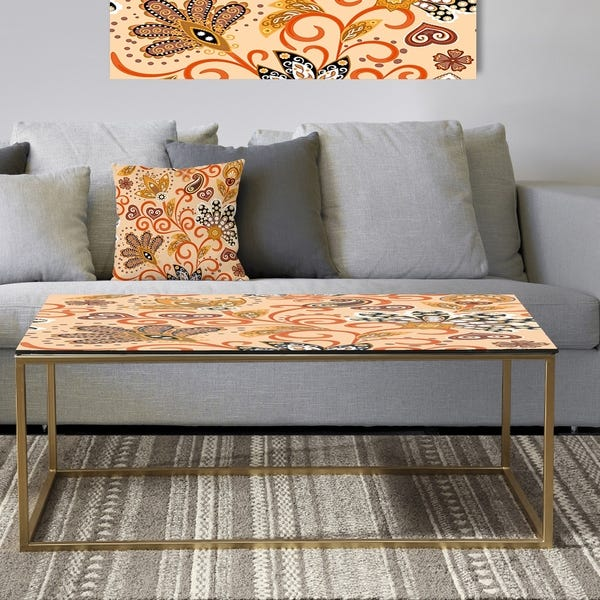 Shop Designart 'Retro Indian Floral Batik III' Metal Glam Coffee .