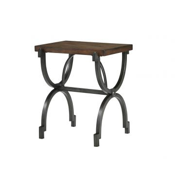 Baybrin Rectangular Chair Side End Table in Rustic Brown T587