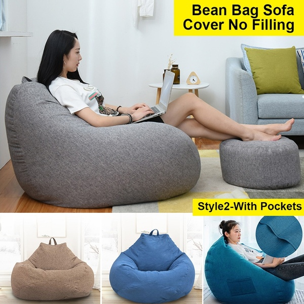 3 Sizes Large Bean Bag Sofa Cover with Pockets Lounger Chair Sofa .