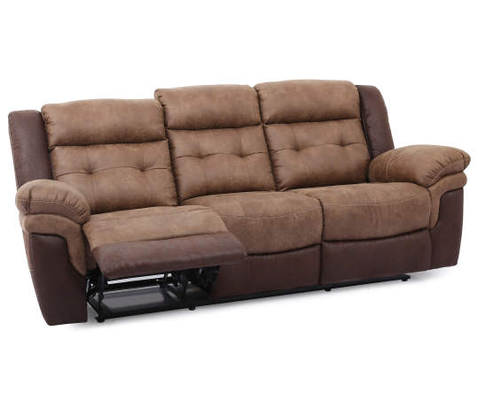 Mesa Brown Faux Leather Motion Reclining Sofa   Big Lo