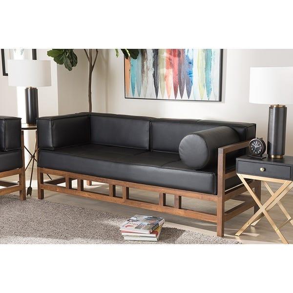 Shop Lancashire Pine Black Faux Leather Walnut Wood 2-Seater Sofa .