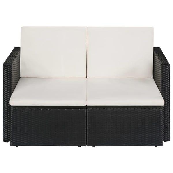 Shop vidaXL 2 Seater Garden Sofa with Cushions Black Poly Rattan .