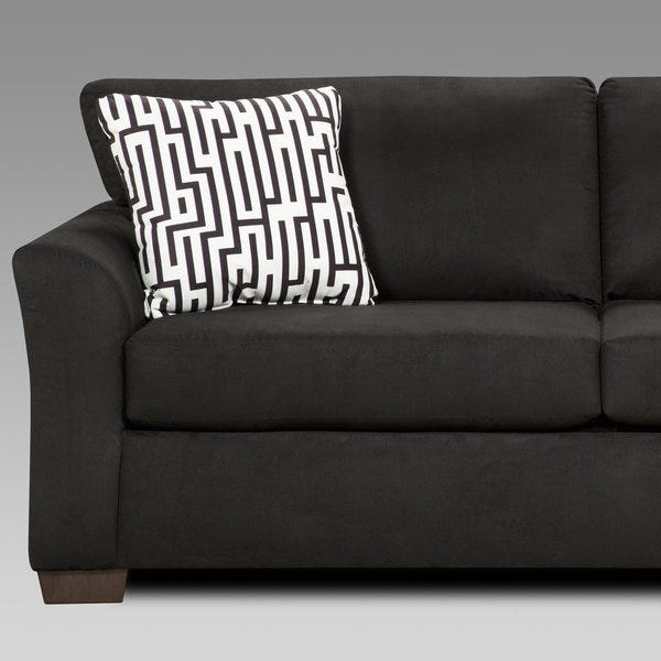 Shop Mazemic Black Microfiber 2-seater Sofa with Pillows .