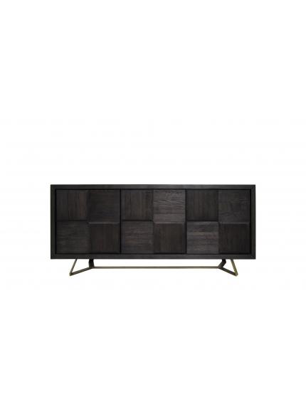 Sierra Sideboard Cabinet In Burnt Oak Wood Top And Matte Black Le