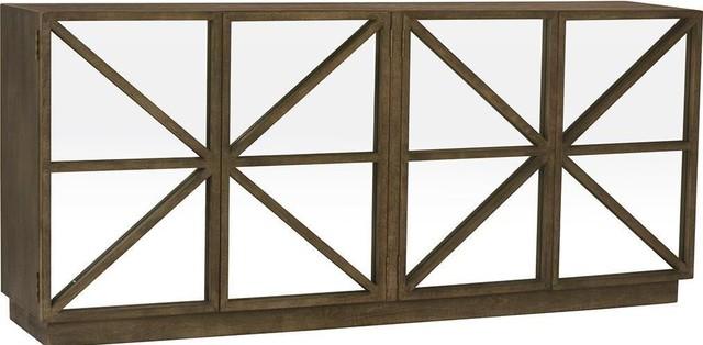 Sideboard Black Burnt Oak Mirror New 4 -Door - Transitional .