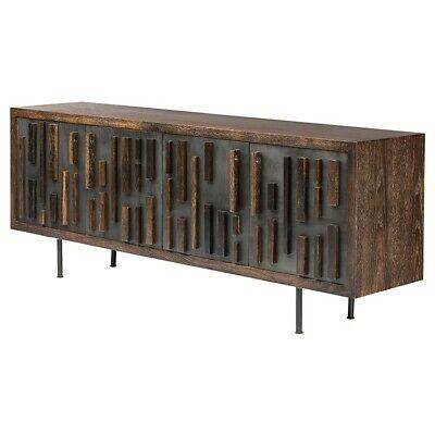 """78.8"""" L Sideboard Solid Seared Oak Wood Cast Iron Matte Black ."""