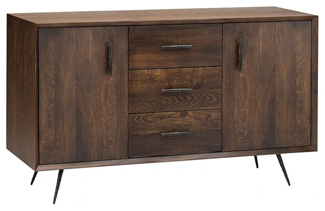 """59"""" L Sideboard Solid French Oak Fronts Textured Cast Iron Legs ."""