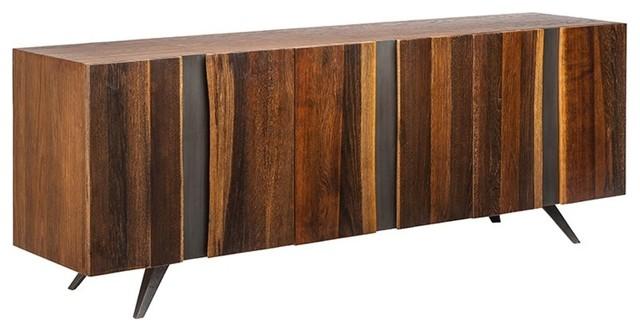 "78.8"" L Sideboard Cabinet Live Edge Solid French White Oak Black ."