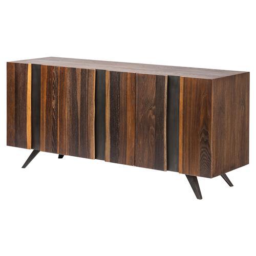 Raine Mid Century Vertical Stria Raw Wood Sideboard Buffet - 63W .