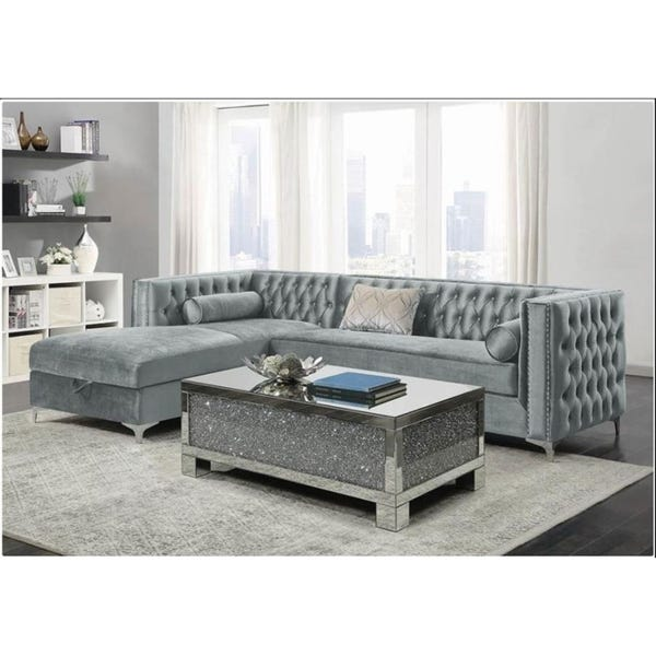 Shop Blaine Velvet Sectional Sofa with Storage Chaise - Overstock .