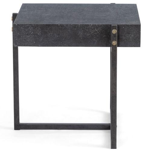 "Masera Iron Leg + Bluestone Square End Table 24"" | Zin Ho"
