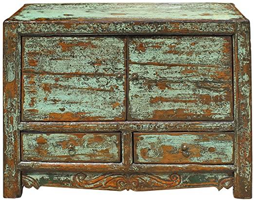 Amazon.com: Oriental Distressed Light Blue Green Lacquer Credenza .