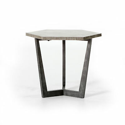 "25"" Abelina End Table Side Iron Bluestone Light Rustic Black ."