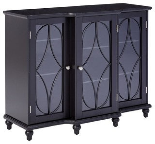 Wood Storage Sideboard Buffet Cabinet Console Table, Black Finish .