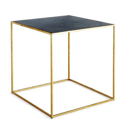 Green Marble & Iron Cube Side Table | Geometric side table, Cube .