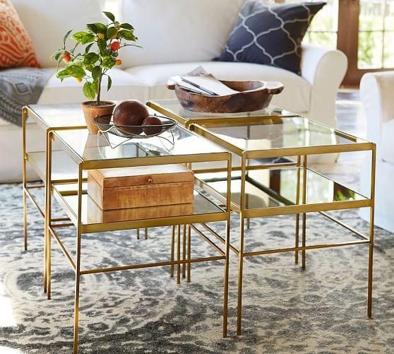 Leona Cube Table | Pottery Barn | Coffee table, Coffee table .
