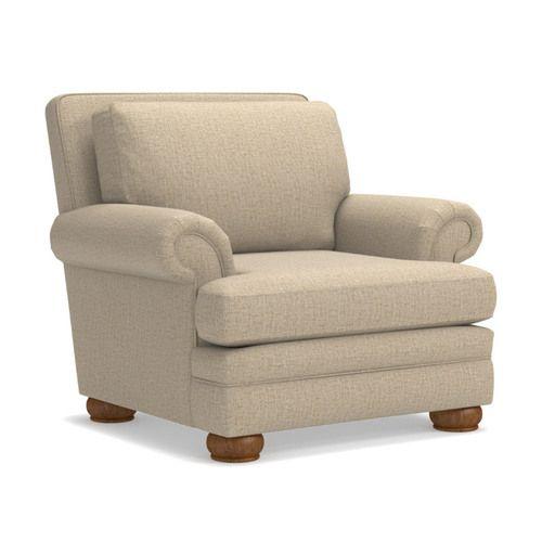 Brennan Premier Stationary Chair w/ Brass Nail Head Trim | La-Z-B