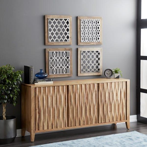 Shop Rustic 34 x 72 Inch Brown Wooden Three-Door Sideboard .