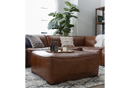Burton Leather 3 Piece Sectional With Ottoman | Living Spac