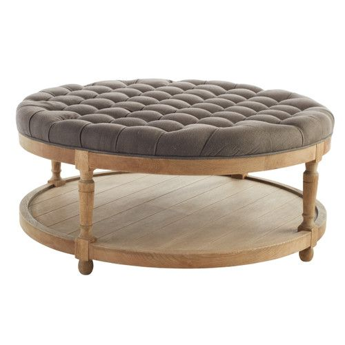 Round Button Tufted Coffee Table - Furniture - Living Room .