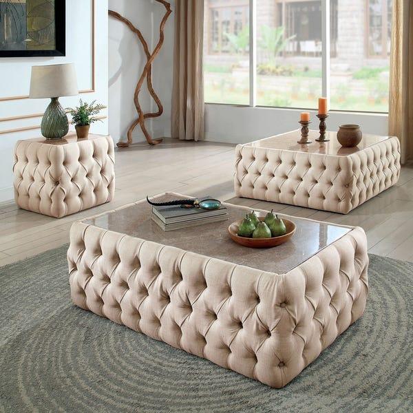 Shop Furniture of America Elis Transitional Beige Linen Square .