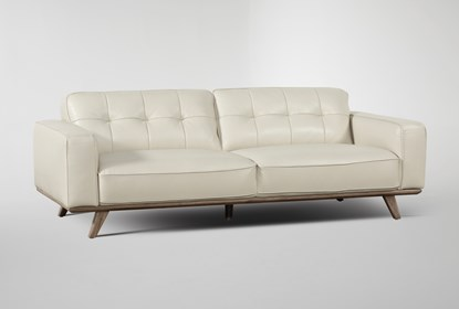 Caressa Leather Dove Grey Sofa | Living Spac