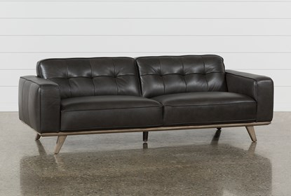 Caressa Leather Dark Grey Sofa | Living Spac