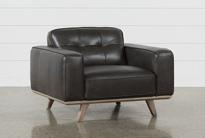 Caressa Leather Dark Grey Chair | Living Spac