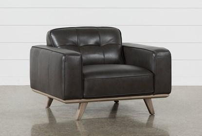 Caressa Leather Dark Grey Chair | Living Spac