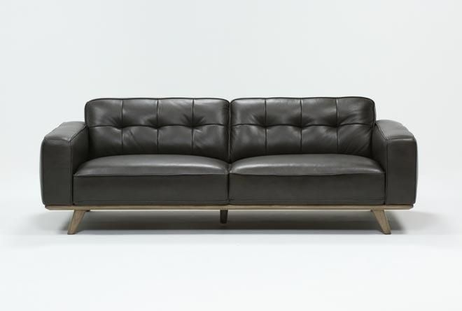 Caressa Leather Dark Grey Sofa | Dark gray sofa, Gray sofa, Sofa .