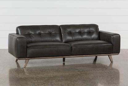 Caressa Leather Dark Grey Sofa | Living Spac