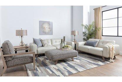 Caressa Leather Dove Grey Sofa | Living Spac