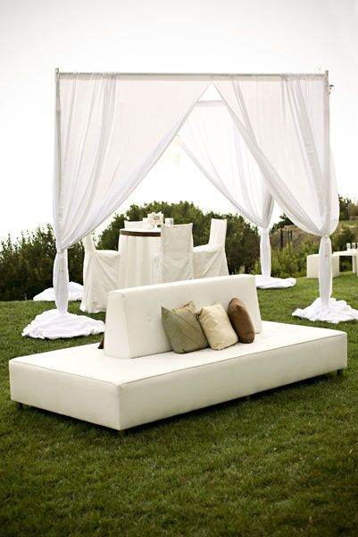 Outdoor curtains, like outdoor room dividers | Cocktail hour decor .