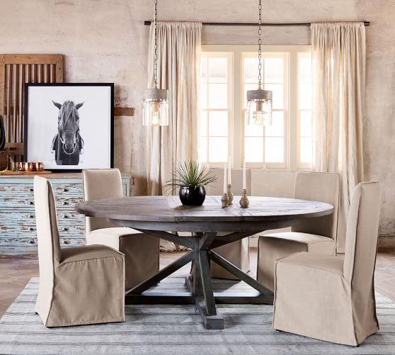 Perfect Pair: Hart Pedestal Extending Dining Table + Carissa Chair .
