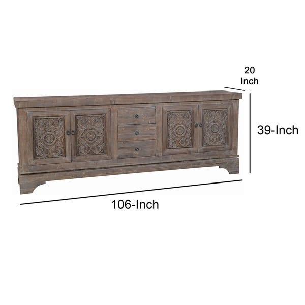Shop Engraved Reclaimed Wood Sideboard with 3 Drawers and 4 Doors .