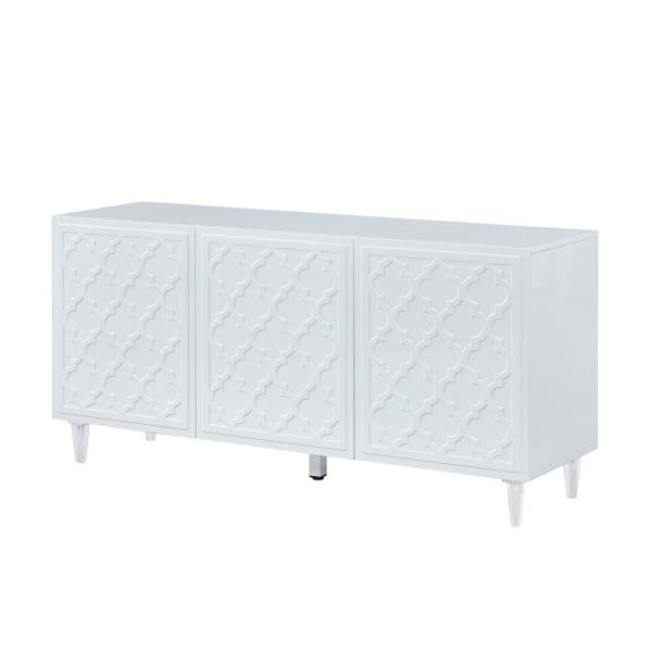 Boyel Living White Sideboard Fully-Assembled 3-Door Accent Storage .