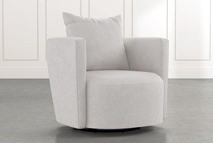 Twirl Light Grey Swivel Accent Chair | Living Spac