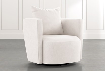 Twirl White Swivel Accent Chair | Living Spac
