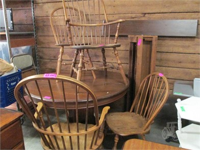 M WOOD OVAL TABLE W/6 LEAVES & 4 CHAIRS-2 W/ARMS Other Items For .