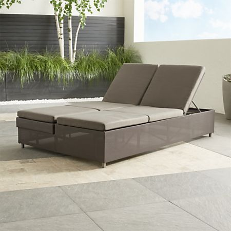 Dune Taupe Double Chaise Sofa Lounge with Sunbrella Cushions + .