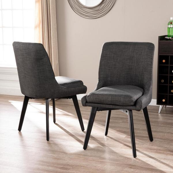 Southern Enterprises Selby Charcoal Gray And Black Swivel Accent .